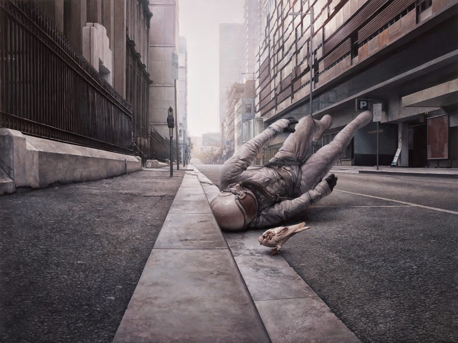15-The-Street-Jeremy-Geddes-Body-Weightlessness-in-Surreal-Paintings-www-designstack-co