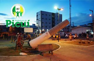 Prefeitura de Picuí derruba palmeiras mortas na Praça Getúlio Vargas