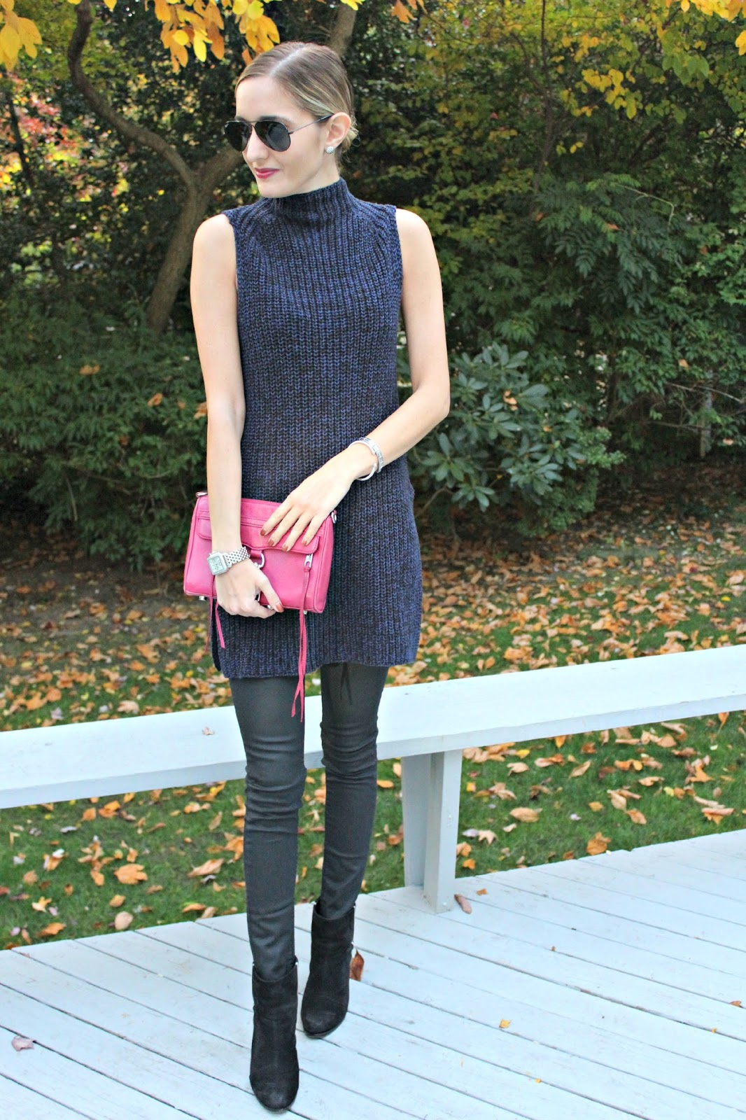 navy and black fall outfit