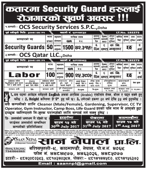 Jobs in Qatar for Nepali, Salary Rs 42,315