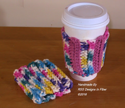Funky Colored Cup Cozy Set By RSS Designs In Fiber