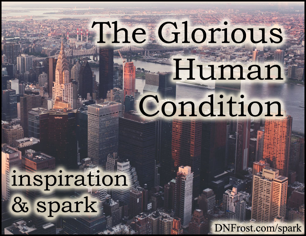 The Glorious Human Condition: rekindling our wonder http://www.dnfrost.com/2016/08/the-glorious-human-condition.html #TotKW Inspiration and spark by D.N.Frost @DNFrost13 Part of a series.