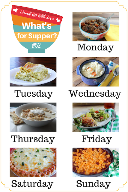 Grandma Haydon's Chicken and Dumplings, Italian Chicken Bake, Beef Stew and more at What's for Supper Sunday weekly meal plan.