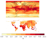 Maps show emergence of new climates under the RCP4.5 emissions scenario for the end of the century for a standard map (upper) and population-weighted cartogram (lower). Shading indicates the signal-to-noise ratio (the darker the shading, the higher the ratio). Maps show results for the median of all the climate model simulations. [Source: Frame et al. (2017)] Click to Enlarge.