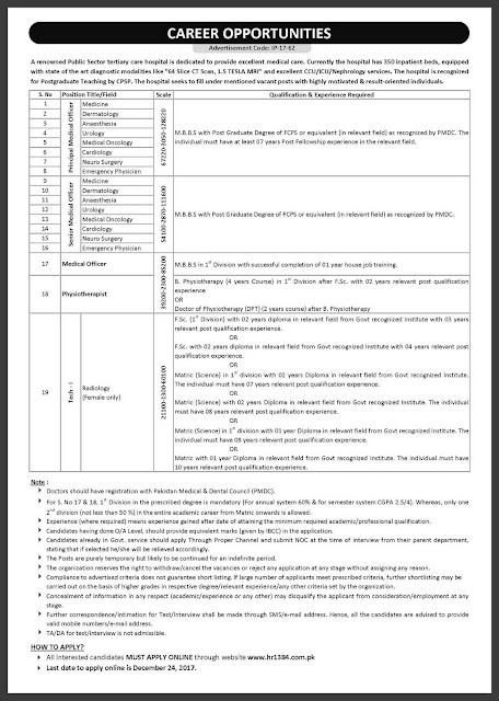 Doctors Jobs in KRL Jobs in Pakistan 2018 FCPS Jobs