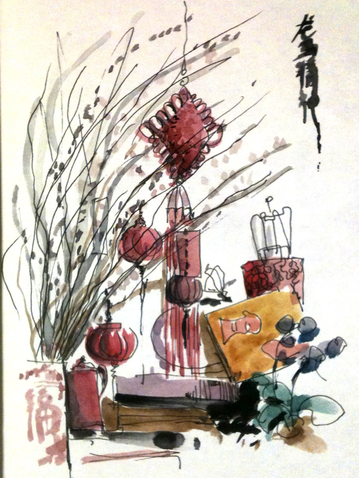 Chinese Lunar New Year decorations | Urban Sketchers