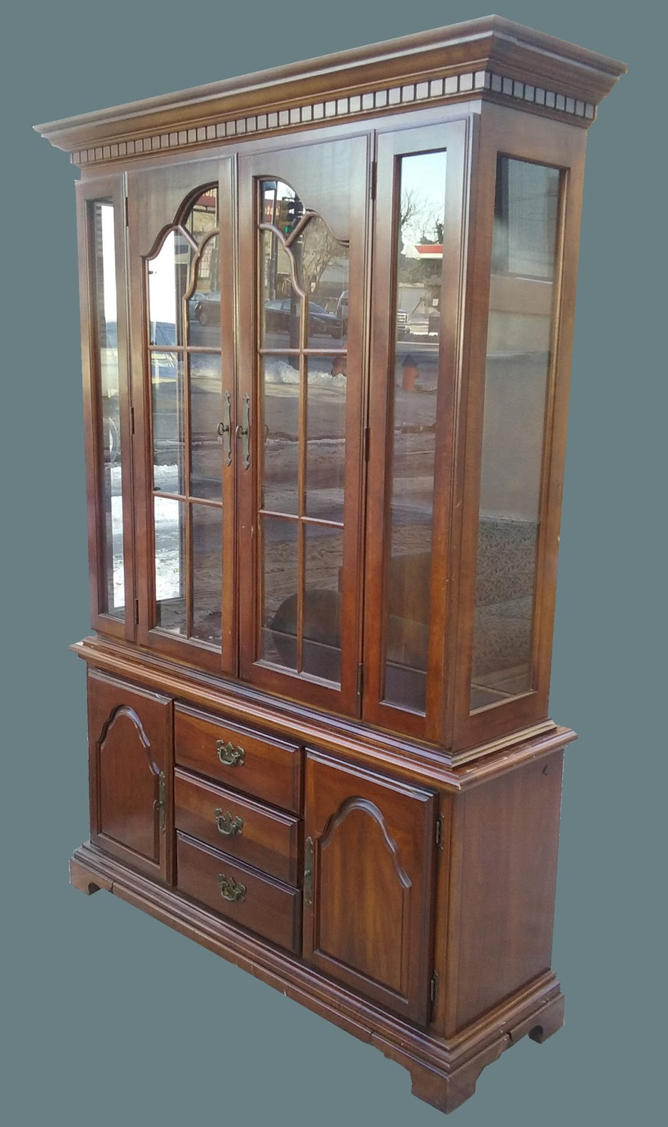 2 Piece China Cabinet W/ Dental Crown Molding   $175 SOLD