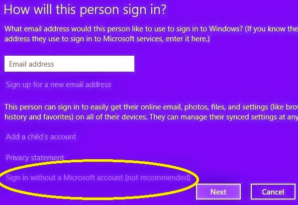 How to create a local user account without internet connection in Windows 8?