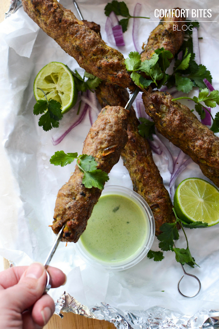 Sheek Kebabs with Lime and Coconut Dip
