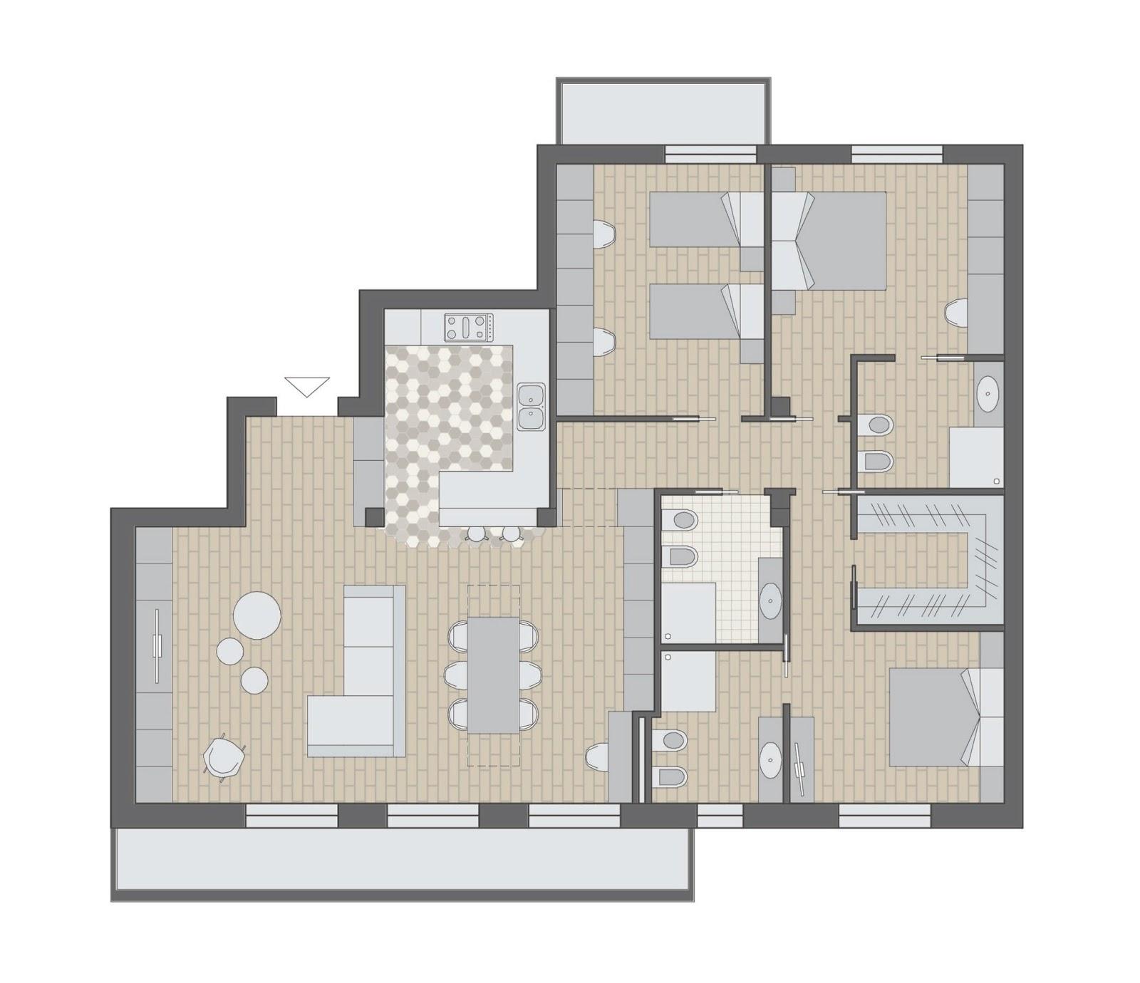 Progetto casafacile appartamento di 270 mq a milano for Casa con 5 camere da letto e 2 piani