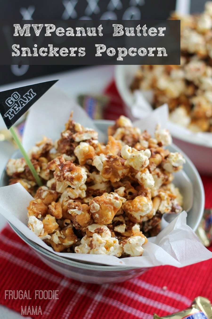 This MVPeanut Butter Snickers Popcorn with it's crunchy popcorn, gooey peanut butter, and bits of Snickers is the perfect sweet treat for game day.