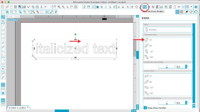 silhouette studio make text italics silhouette cameo