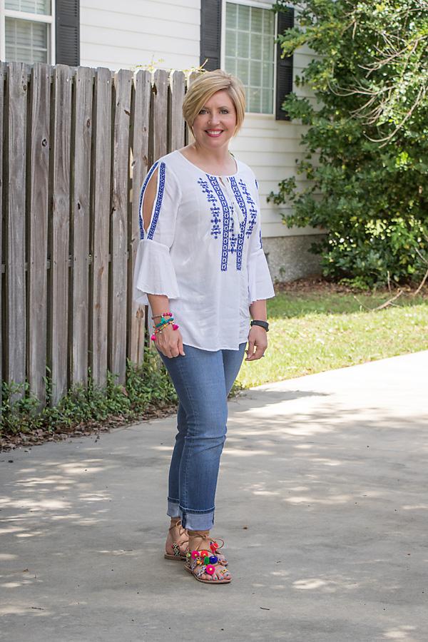 embroidered top, pom pom sandals, tassel bracelets, summer fashion
