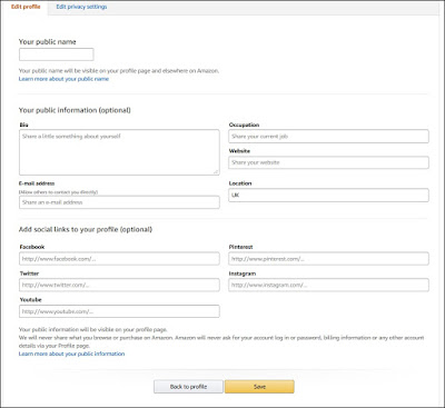 Amazon's edit your profile screen