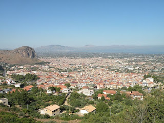 Looking across Partinico towards the Gulf of Castellammare