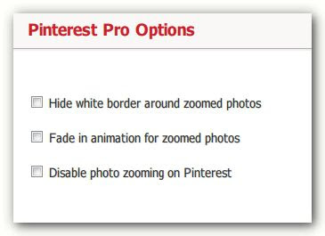 Pinterest Pro options