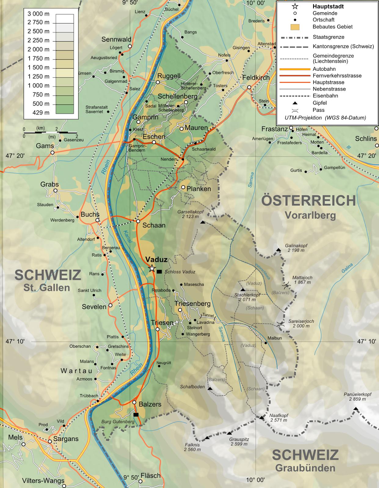 Liechtenstein | Mapas Geográficos de Liechtenstein