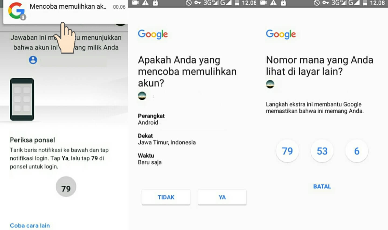 Memulihkan akun google yang lupa password di Android