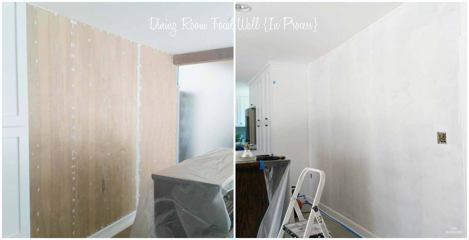 CAD INTERIORS dining room makeover one room challenge diy wainscoting process mid century farmhouse dining room interior design decorating