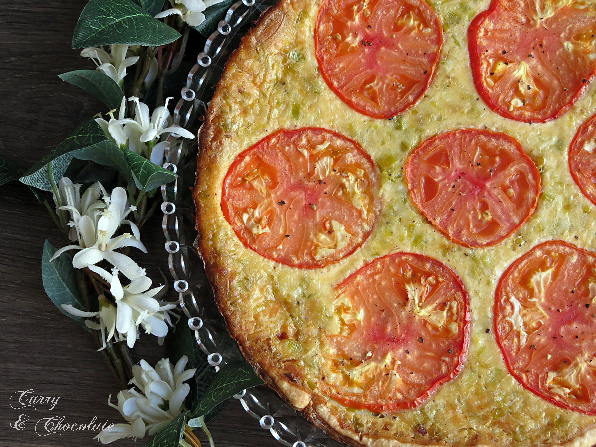 Quiche de puerro y queso con tomate - Leek and cheese quiche with tomato