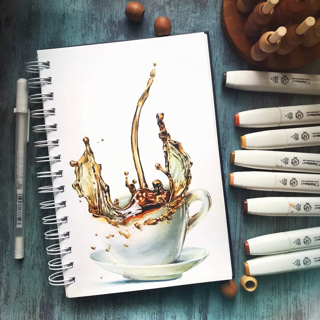 09-A-Spash-of-Coffee-Katerina-Brovka-Illustrations-of-Food-Art-Architecture-and-More-www-designstack-co
