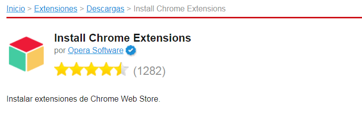 Install Chrome Extensions en Opera