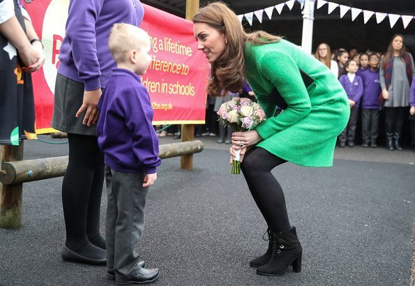 Kate Middleton wore Eponine London green dress, L.K. Bennett Marissa boots, KIKI McDonough Lauren earrings