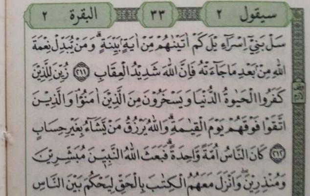 di Al-Quran Hanya Ada 2 Surat yang Terdapat Ayat 212