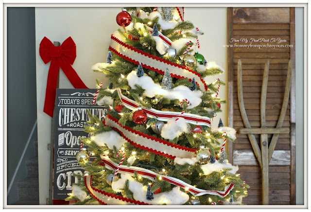 Farmhouse Christmas Tree-Ric Rac Ribbon-Bottle Brush Tree- From My Front Porch To Yours