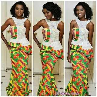 plain and pattern ankara gown