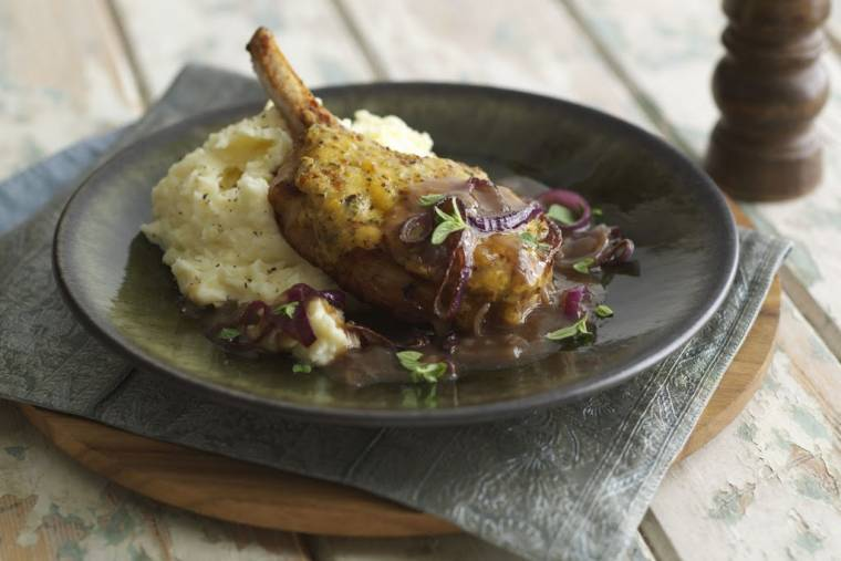 Cheesy Pork Chops With Onion Gravy & Parsnip Mash