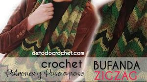 Patrones de Bufanda Crochet Zig Zag con Instrucciones en Español