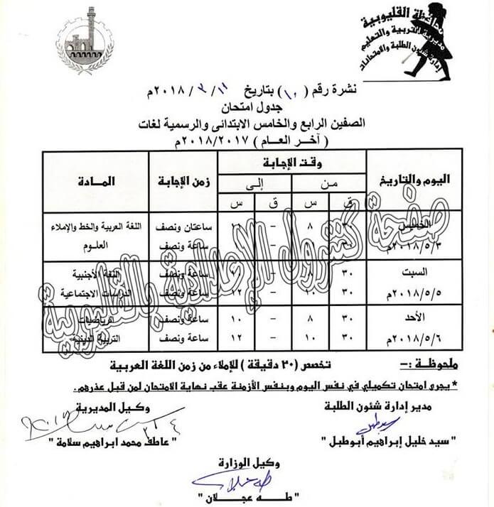 جدول امتحانات الصف الرابع و الخامس الابتدائي 2018 الترم الثاني محافظة القليوبية