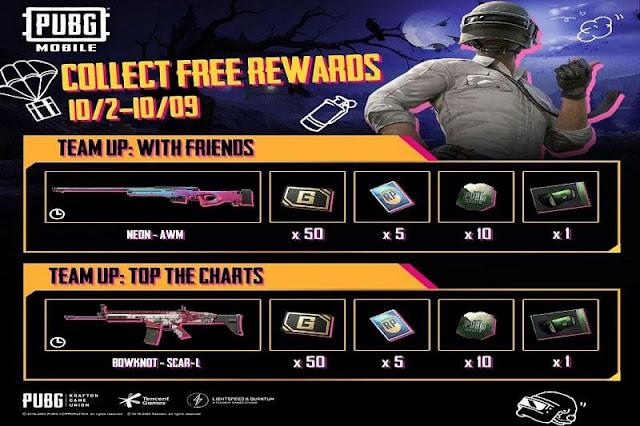 PUBG Mobile Team Up etkinlikleri: Ekim 2020'de ücretsiz silah kaplama ödülleri nasıl alınır?