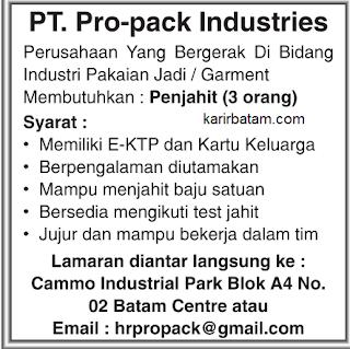 Lowongan Kerja PT. Pro-Pack Industries