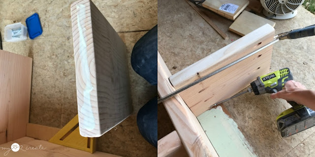 wood glue and pocket holes to attach shelves