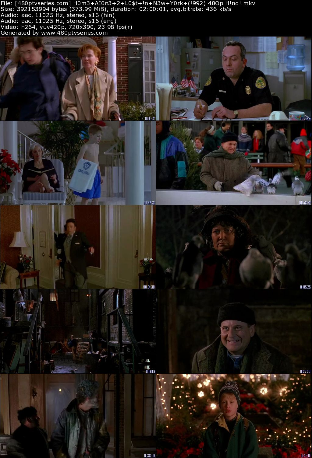 Home Alone 2 Lost In New York 1992 350mb Full Hindi Dual Audio