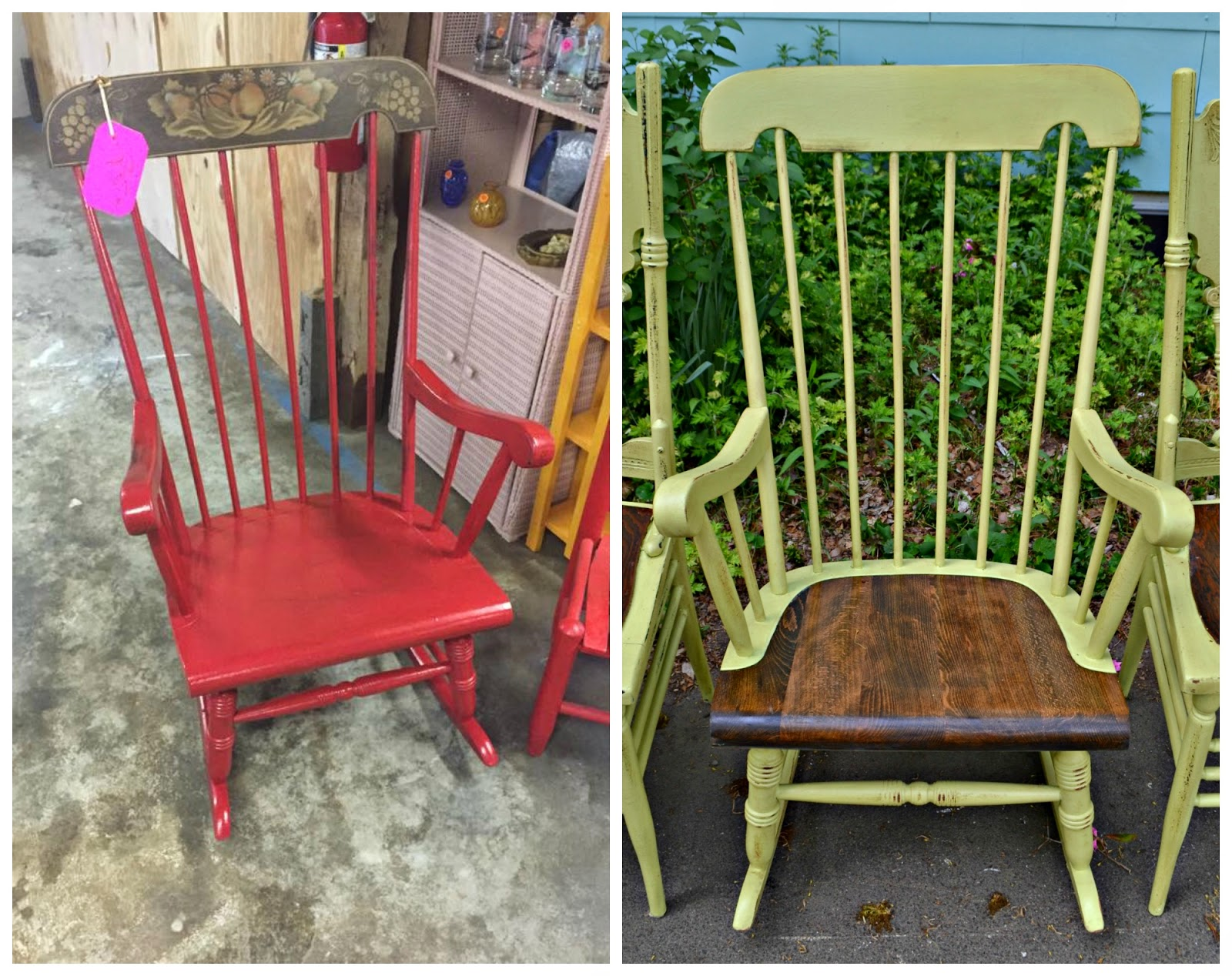 Spring Rocking Chair Heir And Space A Rocker And Two Chairs In Spring Green