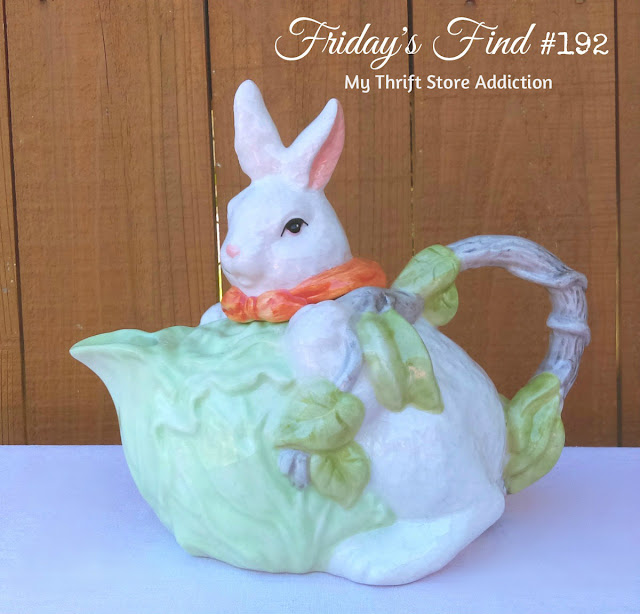thrift store find bunny teapot