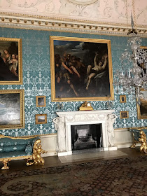 Period room with damask wallpaper