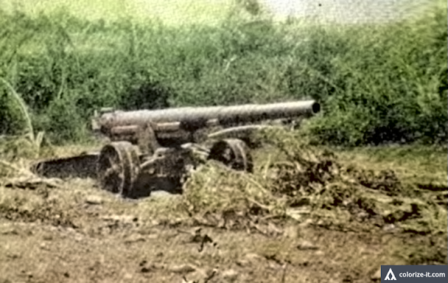 "Original caption:  Jap artillery at Aga was heavy and modern.  Image source:  ""The Angels: a History of the 11th Airborne Division, 1943-1946."""