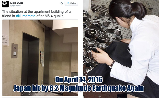 On April 14, 2016 Japan hit by 6.2 Magnitude Earthquake Again