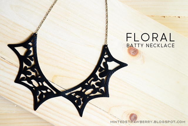 bat necklace floral cutout DIY