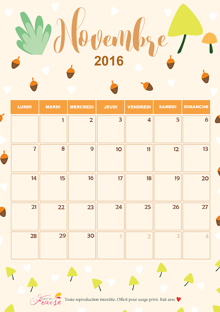 calendrier diy novembre 2016 automne
