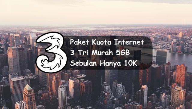 Cara Membeli Paket Internet 3 Tri Murah 5GB hanya 10k