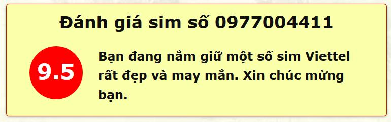 Sim Số Đẹp 0977004411 xem số đẹp theo Kinh Dịch
