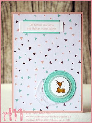 Stampin' Up! rosa Mädchen Kulmbach: Babykarte Bambi mit Framelits Stickmuster, A good day und Zum Nachwuchs