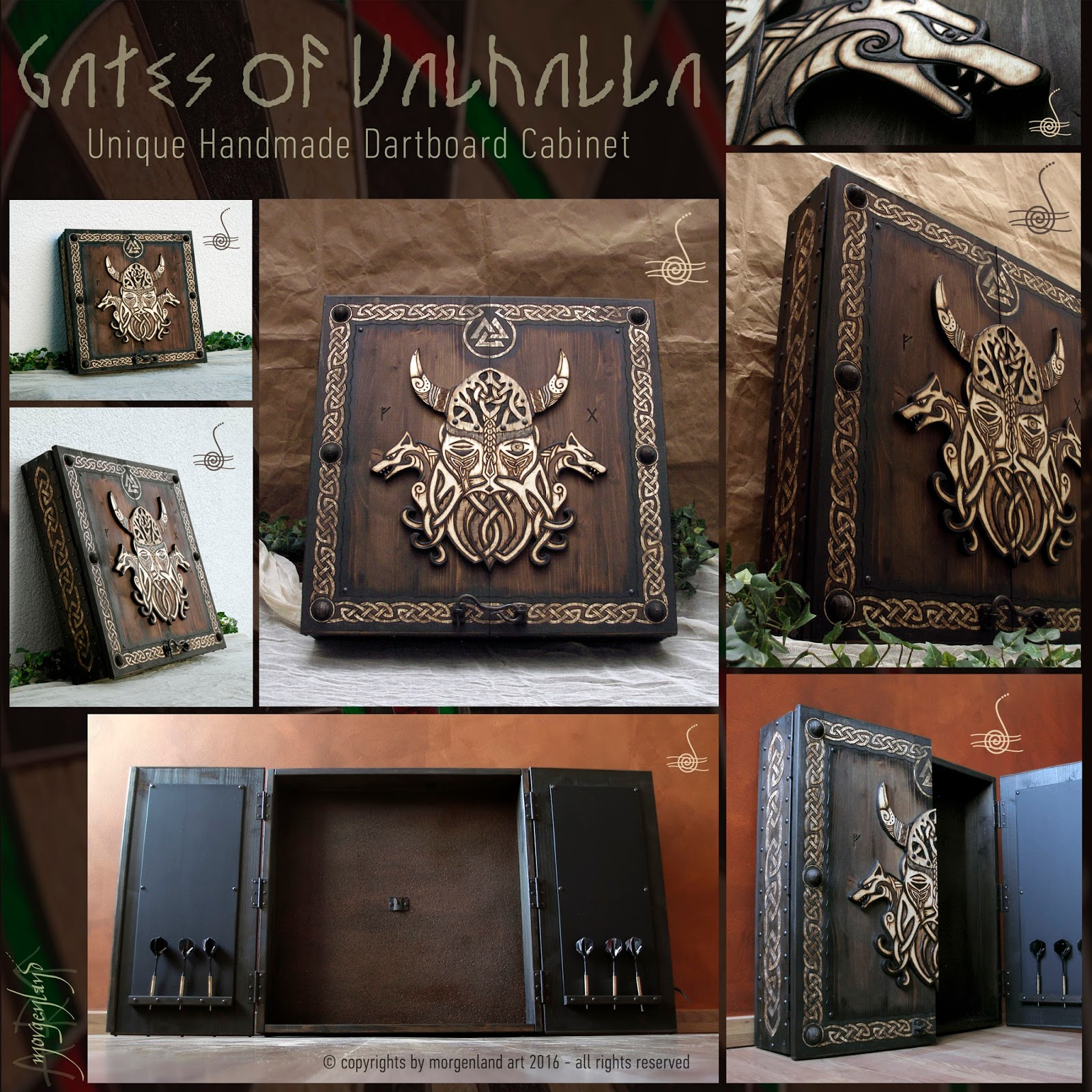 Gates Of Valhalla Unique Handmade Dartboard Cabinet