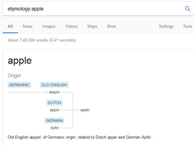 google origin word search