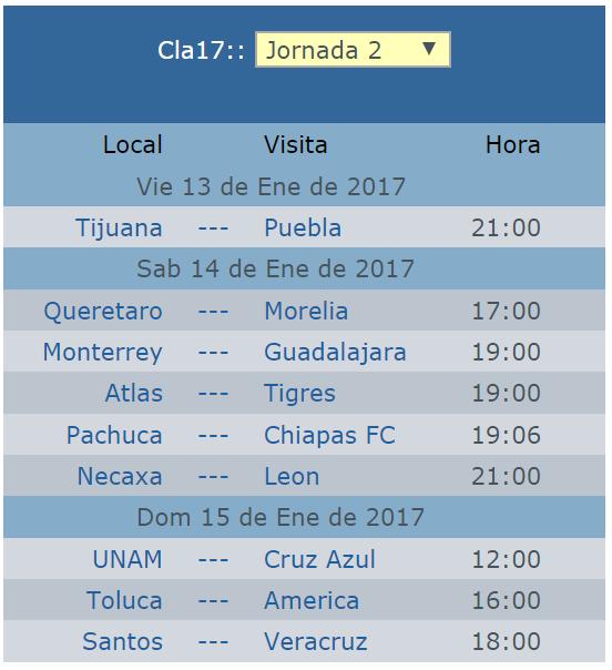 Calendario de la jornada 2 del clausura 2017 futbol mexicano
